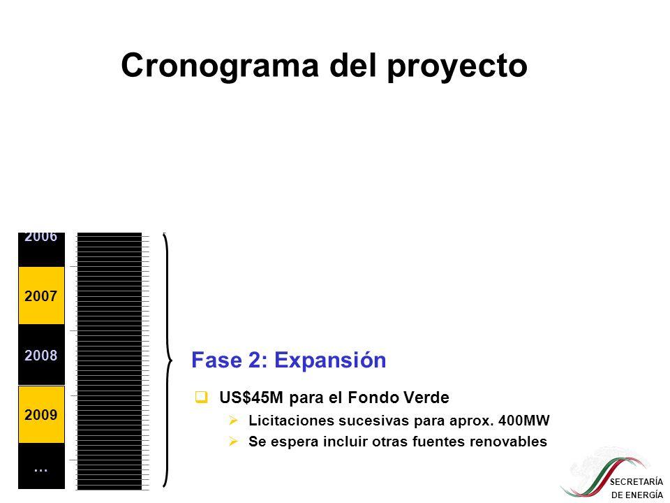 SECRETARÍA DE ENERGÍA Cronograma del proyecto 2004 2005 2006 2007 2008 2009 … Etapa de preparación (US$350,000) Fase 1: Demostración del concepto (US$