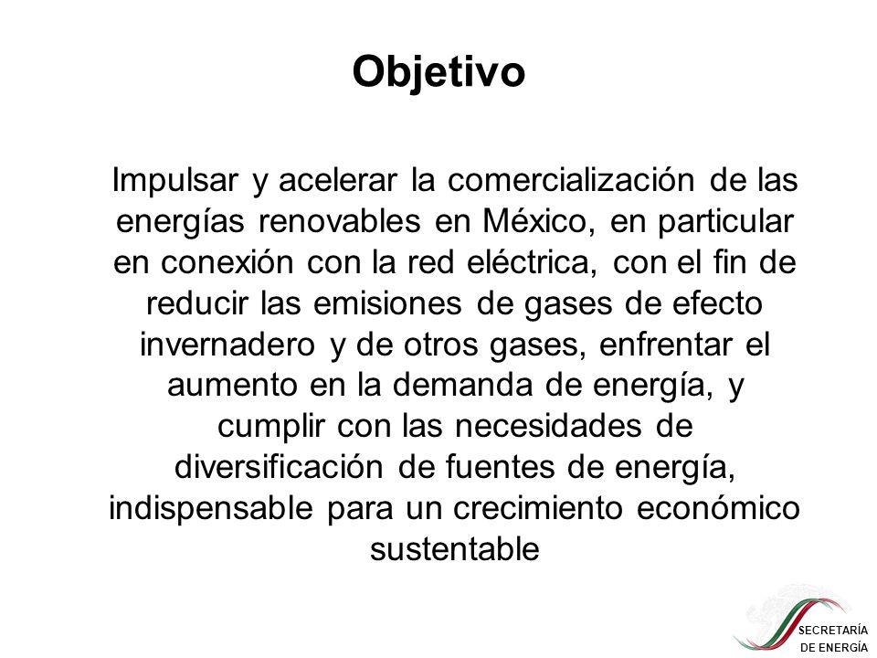 SECRETARÍA DE ENERGÍA Objetivo Impulsar y acelerar la comercialización de las energías renovables en México, en particular en conexión con la red eléc