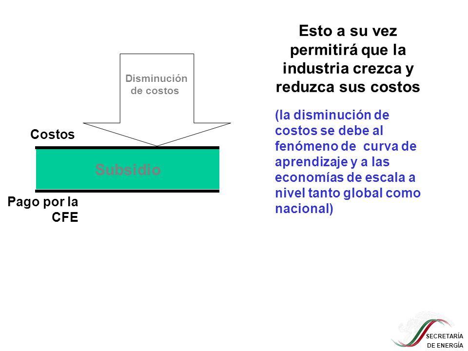 SECRETARÍA DE ENERGÍA Disminución de costos Esto a su vez permitirá que la industria crezca y reduzca sus costos Subsidio (la disminución de costos se