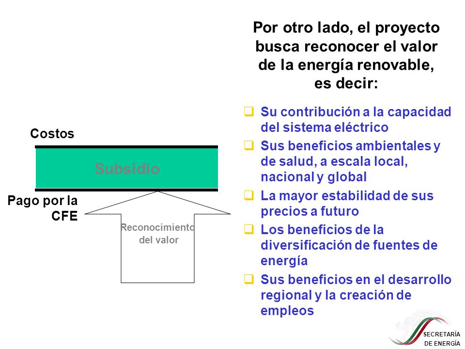 SECRETARÍA DE ENERGÍA Cronograma del proyecto 2004 2005 2006 2007 2008 2009 … Etapa de preparación (US$350,000) Fase 1: Demostración del concepto US$17M para el Fondo Verde Realización de la primera ronda de licitaciones, para un mínimo de 70 MW (sólo energía eólica) US$8M para asistencia técnica Mayor reconocimiento de valor de las fuentes renovables Apoyo a modalidades de exportación y autoabastecimiento