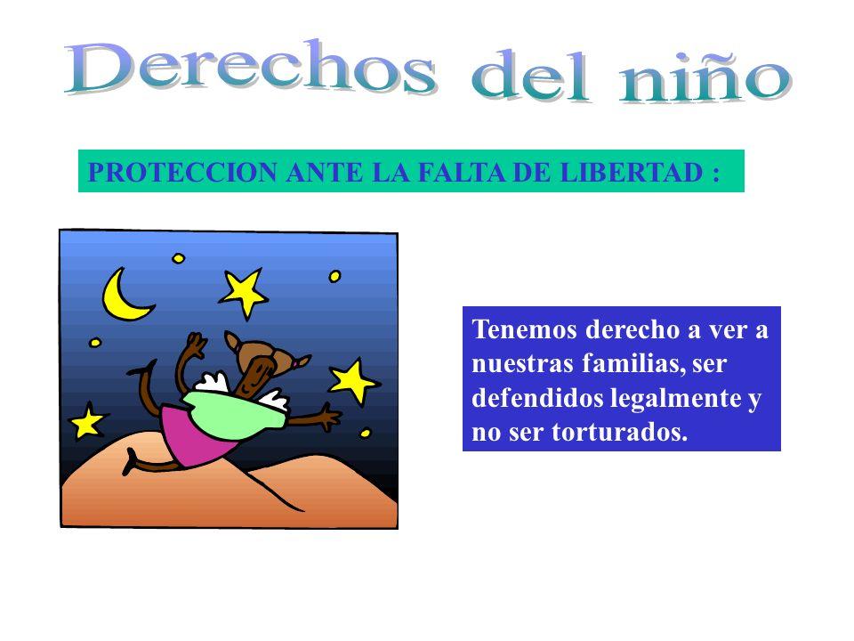 PROTECCION ANTE LA FALTA DE LIBERTAD : Tenemos derecho a ver a nuestras familias, ser defendidos legalmente y no ser torturados.