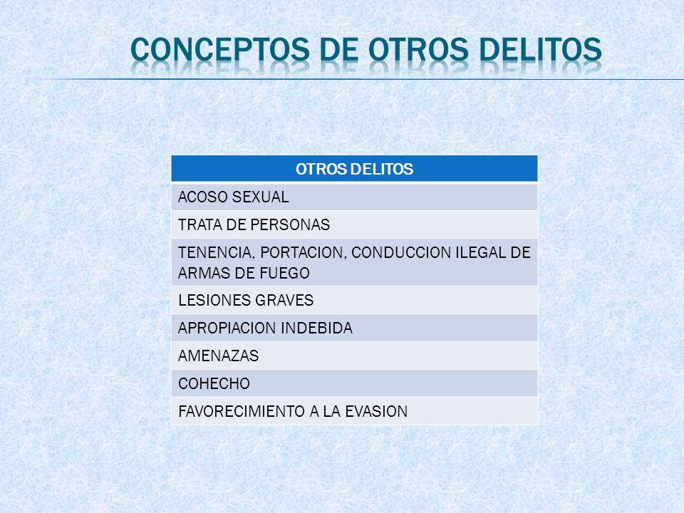 OTROS DELITOS ACOSO SEXUAL TRATA DE PERSONAS TENENCIA, PORTACION, CONDUCCION ILEGAL DE ARMAS DE FUEGO LESIONES GRAVES APROPIACION INDEBIDA AMENAZAS CO
