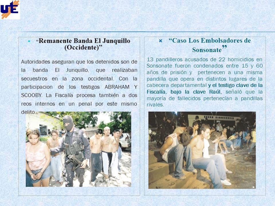 Caso Los Embolsadores de Sonsonate 13 pandilleros acusados de 22 homicidios en Sonsonate fueron condenados entre 15 y 60 años de prisión y pertenecen