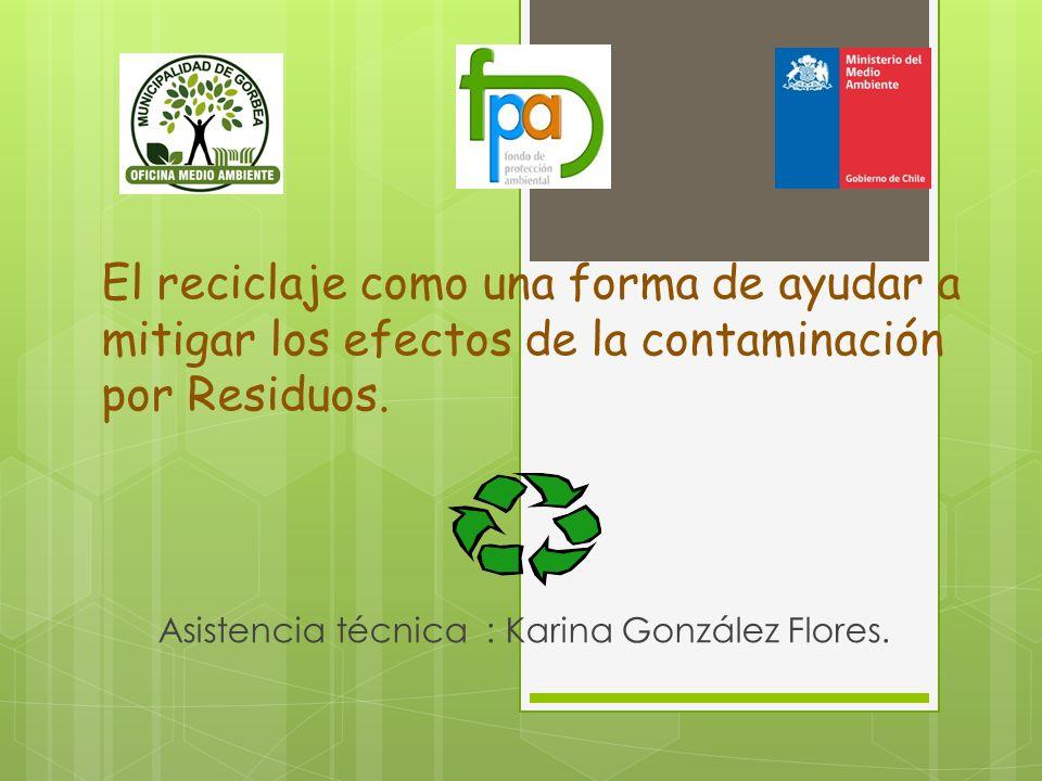 El reciclaje como una forma de ayudar a mitigar los efectos de la contaminación por Residuos. Asistencia técnica : Karina González Flores.