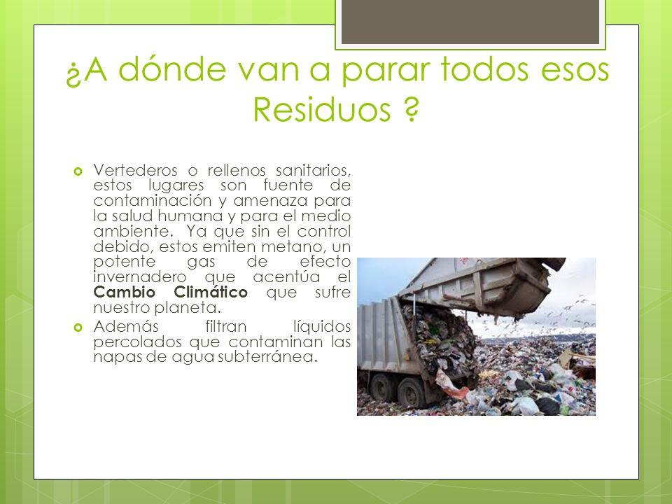 ¿A dónde van a parar todos esos Residuos ? Vertederos o rellenos sanitarios, estos lugares son fuente de contaminación y amenaza para la salud humana