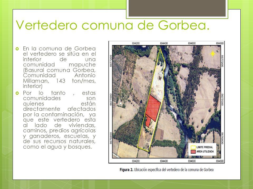 Vertedero comuna de Gorbea. En la comuna de Gorbea el vertedero se sitúa en el interior de una comunidad mapuche (Basural comuna Gorbea, Comunidad Ant