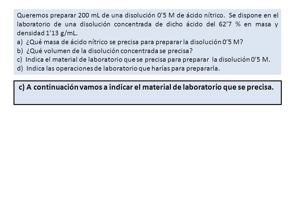 Queremos preparar 200 mL de una disolución 05 M de ácido nítrico.