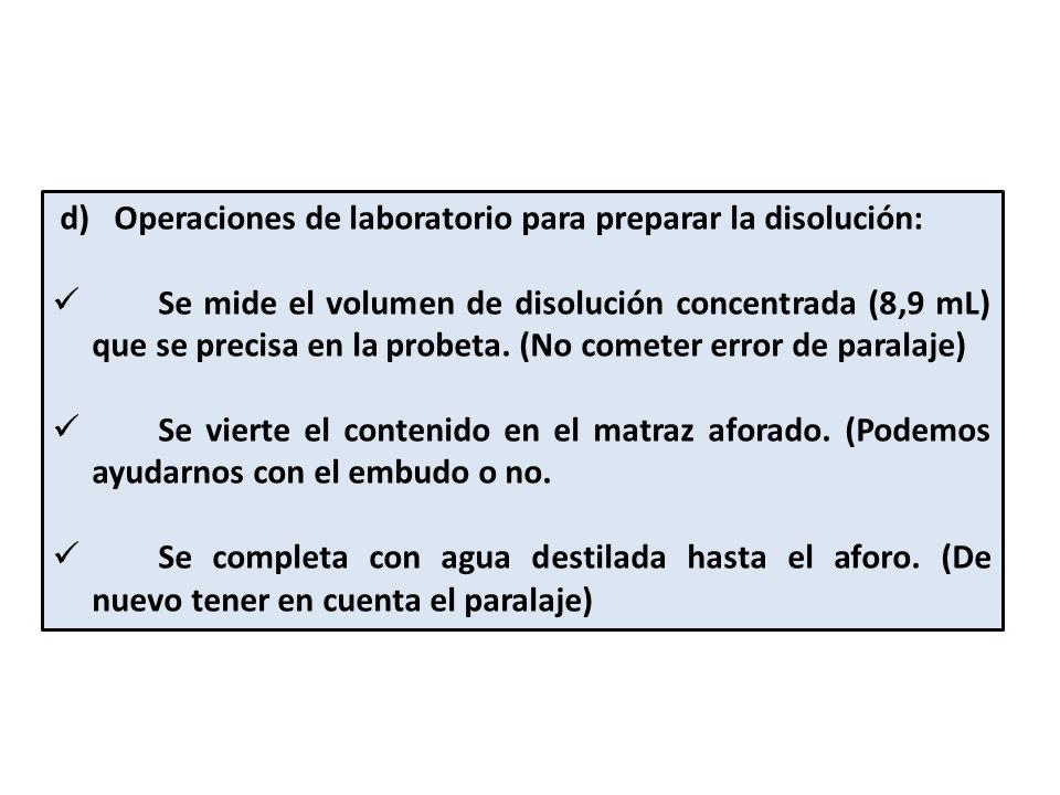 d) Operaciones de laboratorio para preparar la disolución: Se mide el volumen de disolución concentrada (8,9 mL) que se precisa en la probeta.