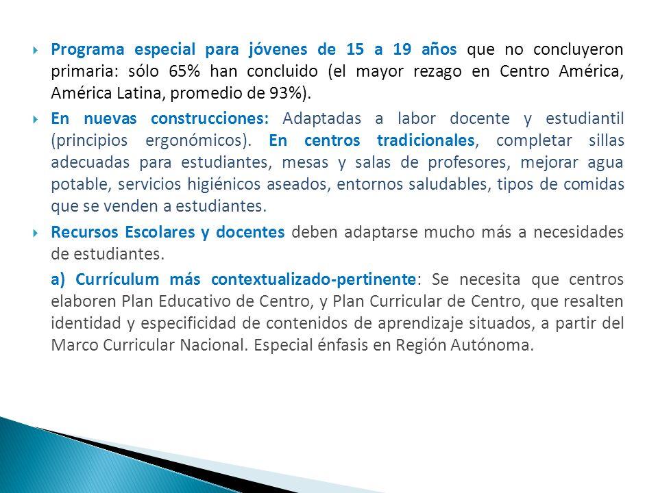 Programa especial para jóvenes de 15 a 19 años que no concluyeron primaria: sólo 65% han concluido (el mayor rezago en Centro América, América Latina,