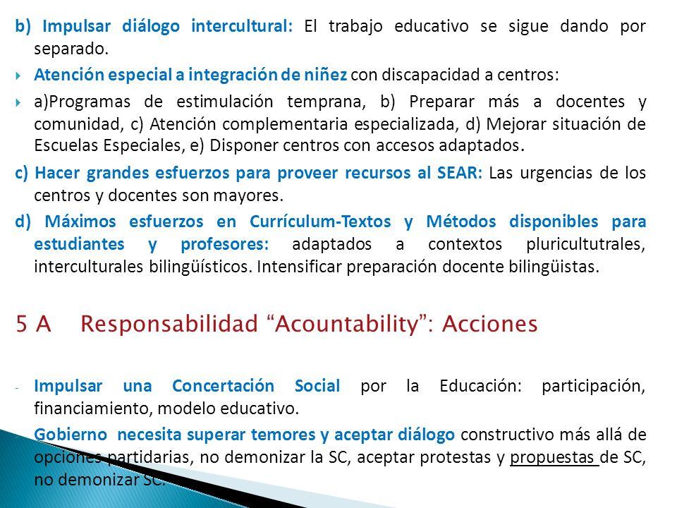 b) Impulsar diálogo intercultural: El trabajo educativo se sigue dando por separado. Atención especial a integración de niñez con discapacidad a centr