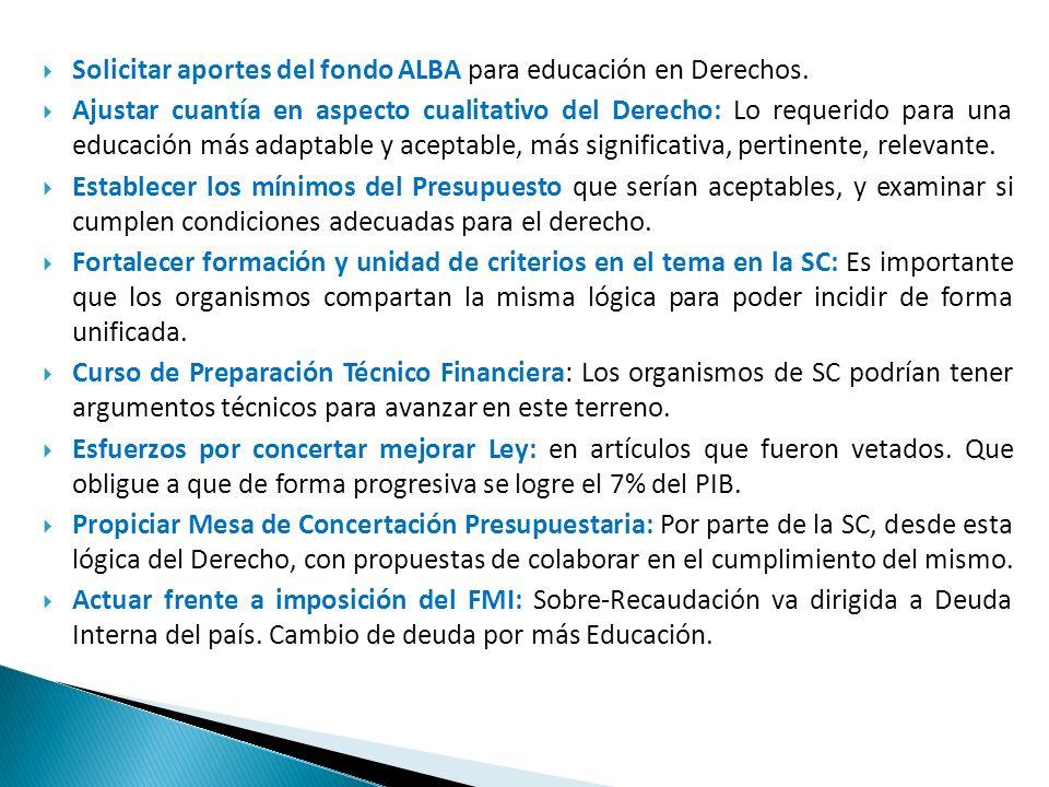 Solicitar aportes del fondo ALBA para educación en Derechos. Ajustar cuantía en aspecto cualitativo del Derecho: Lo requerido para una educación más a