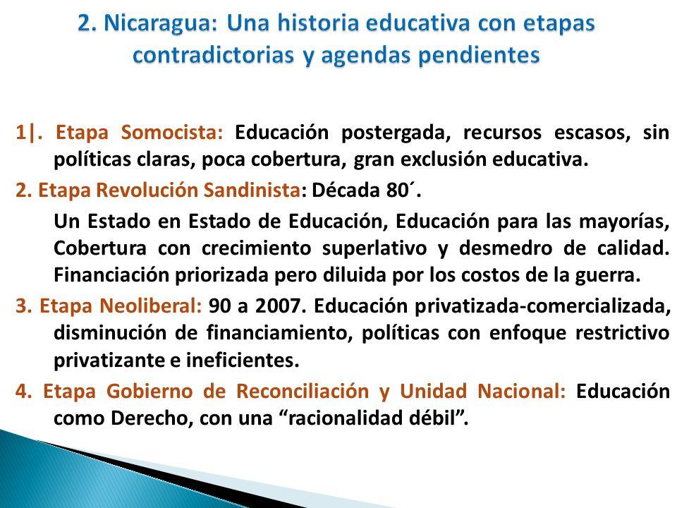 1|. Etapa Somocista: Educación postergada, recursos escasos, sin políticas claras, poca cobertura, gran exclusión educativa. 2. Etapa Revolución Sandi