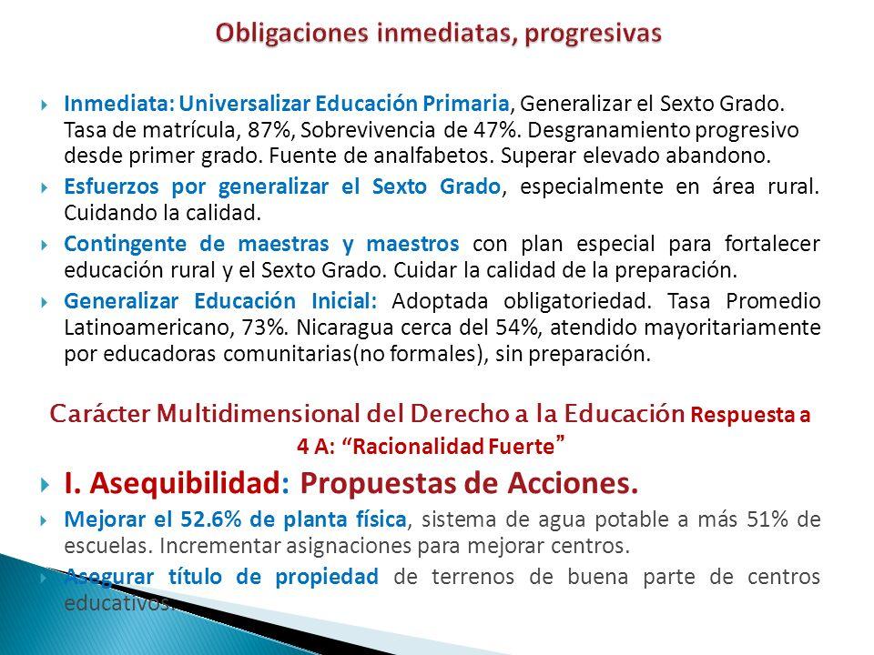 Inmediata: Universalizar Educación Primaria, Generalizar el Sexto Grado. Tasa de matrícula, 87%, Sobrevivencia de 47%. Desgranamiento progresivo desde