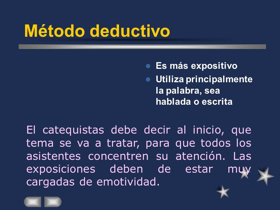 Método deductivo Es más expositivo Utiliza principalmente la palabra, sea hablada o escrita El catequistas debe decir al inicio, que tema se va a tratar, para que todos los asistentes concentren su atención.