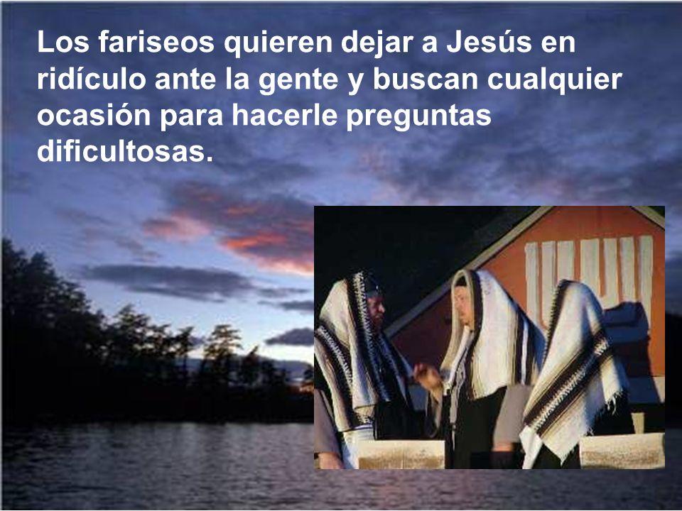 Los fariseos quieren dejar a Jesús en ridículo ante la gente y buscan cualquier ocasión para hacerle preguntas dificultosas.