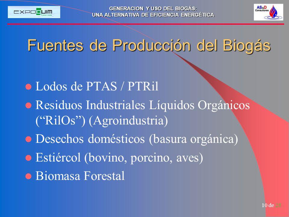 GENERACION Y USO DEL BIOGÁS: UNA ALTERNATIVA DE EFICIENCIA ENERGÉTICA 10 de 28 Fuentes de Producción del Biogás Lodos de PTAS / PTRil Residuos Industr