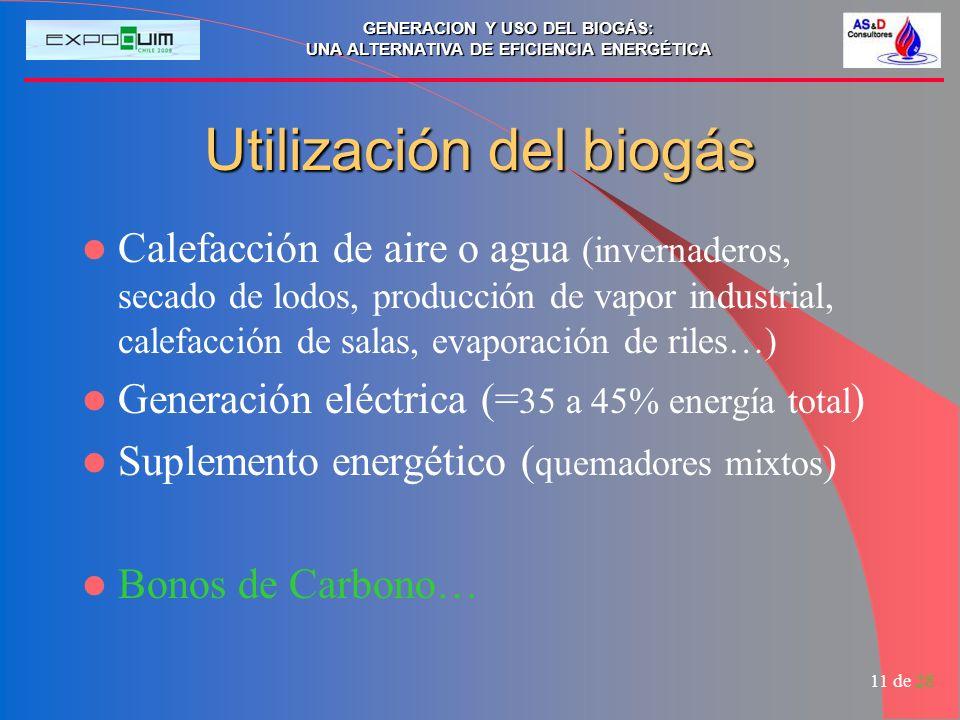 GENERACION Y USO DEL BIOGÁS: UNA ALTERNATIVA DE EFICIENCIA ENERGÉTICA 11 de 28 Utilización del biogás Calefacción de aire o agua (invernaderos, secado de lodos, producción de vapor industrial, calefacción de salas, evaporación de riles…) Generación eléctrica (= 35 a 45% energía total ) Suplemento energético ( quemadores mixtos ) Bonos de Carbono…
