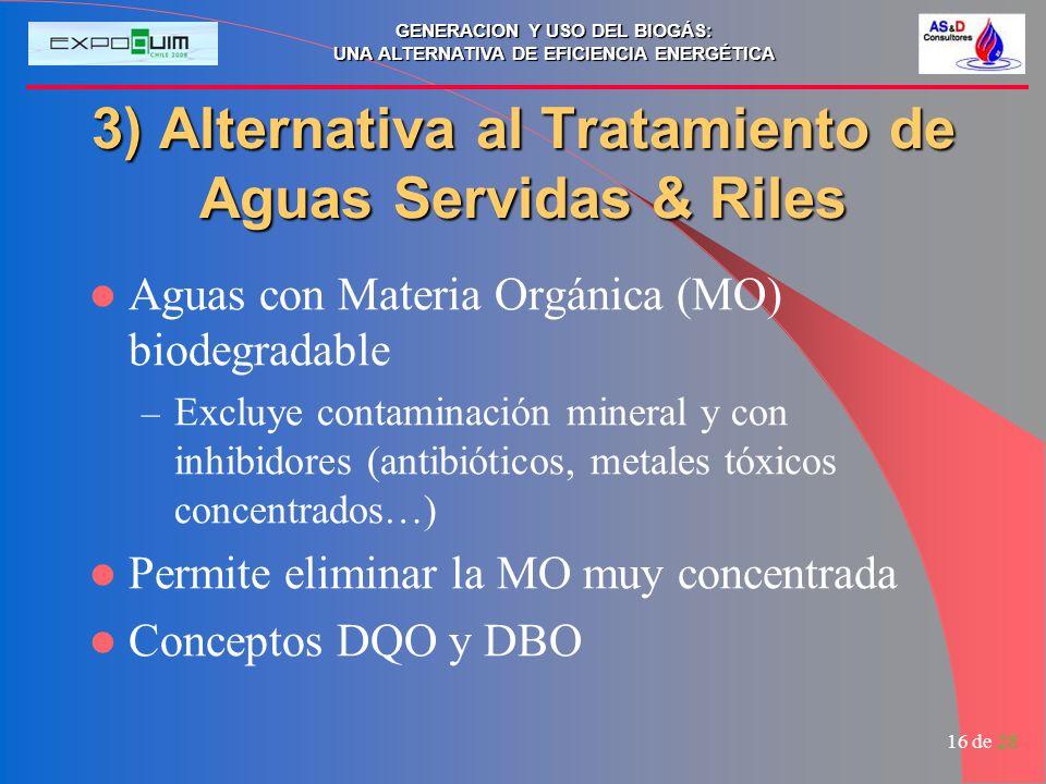 GENERACION Y USO DEL BIOGÁS: UNA ALTERNATIVA DE EFICIENCIA ENERGÉTICA 16 de 28 3) Alternativa al Tratamiento de Aguas Servidas & Riles Aguas con Mater
