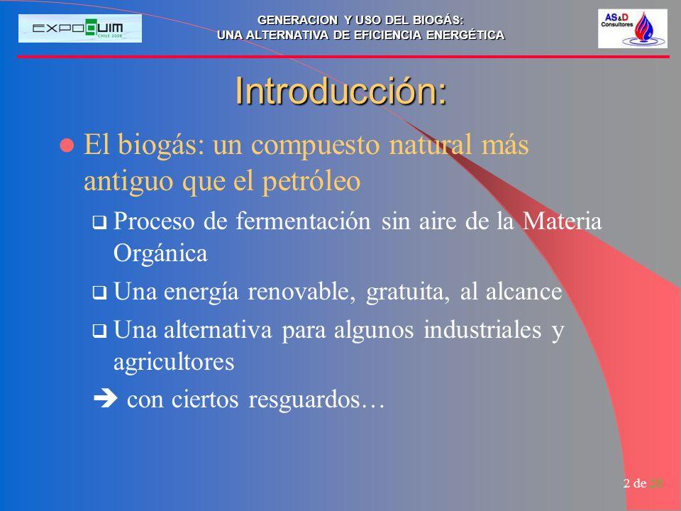 GENERACION Y USO DEL BIOGÁS: UNA ALTERNATIVA DE EFICIENCIA ENERGÉTICA 3 de 28 Plan de la presentación Generalidades sobre el biogás Fuente de energía Alternativa al tratamiento de A.S.