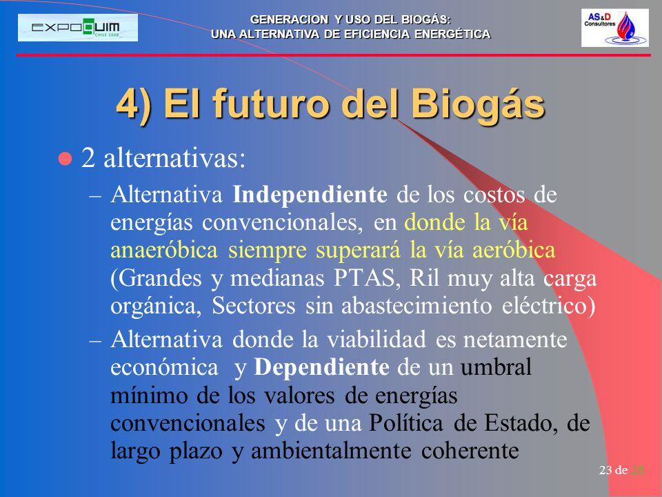 GENERACION Y USO DEL BIOGÁS: UNA ALTERNATIVA DE EFICIENCIA ENERGÉTICA 23 de 28 4) El futuro del Biogás 2 alternativas: –A–Alternativa Independiente de