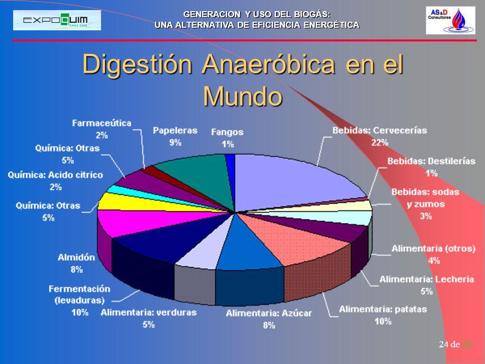 GENERACION Y USO DEL BIOGÁS: UNA ALTERNATIVA DE EFICIENCIA ENERGÉTICA 24 de 28 Digestión Anaeróbica en el Mundo