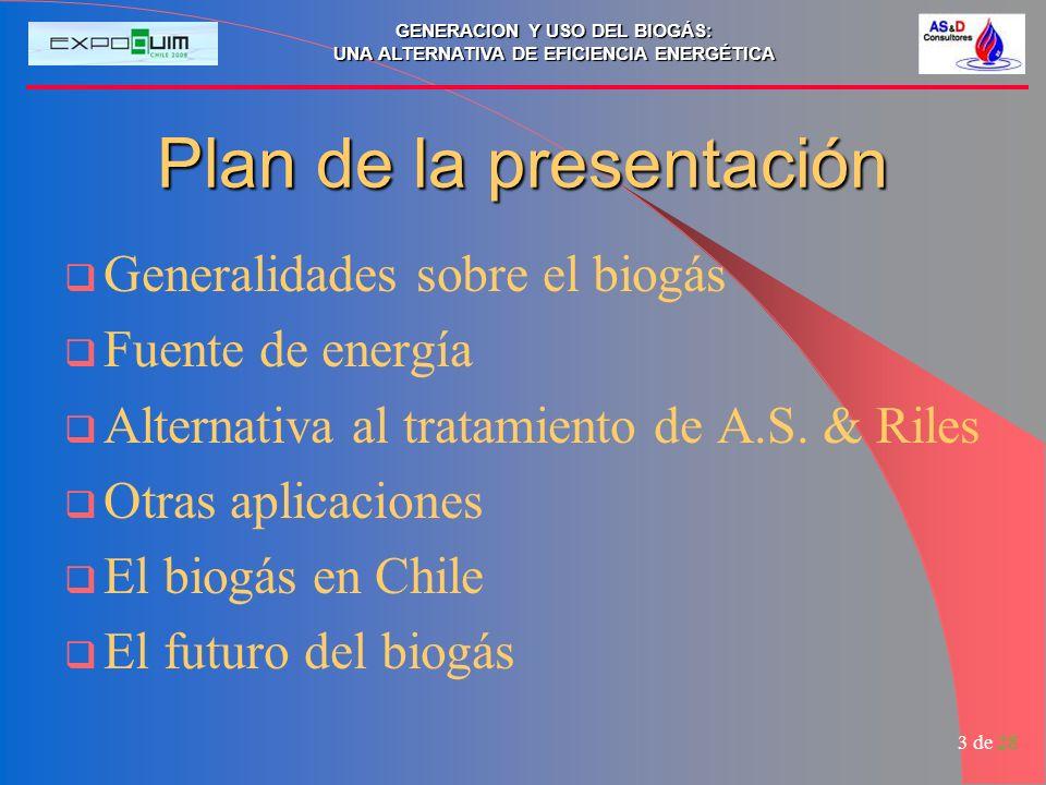 GENERACION Y USO DEL BIOGÁS: UNA ALTERNATIVA DE EFICIENCIA ENERGÉTICA 3 de 28 Plan de la presentación Generalidades sobre el biogás Fuente de energía