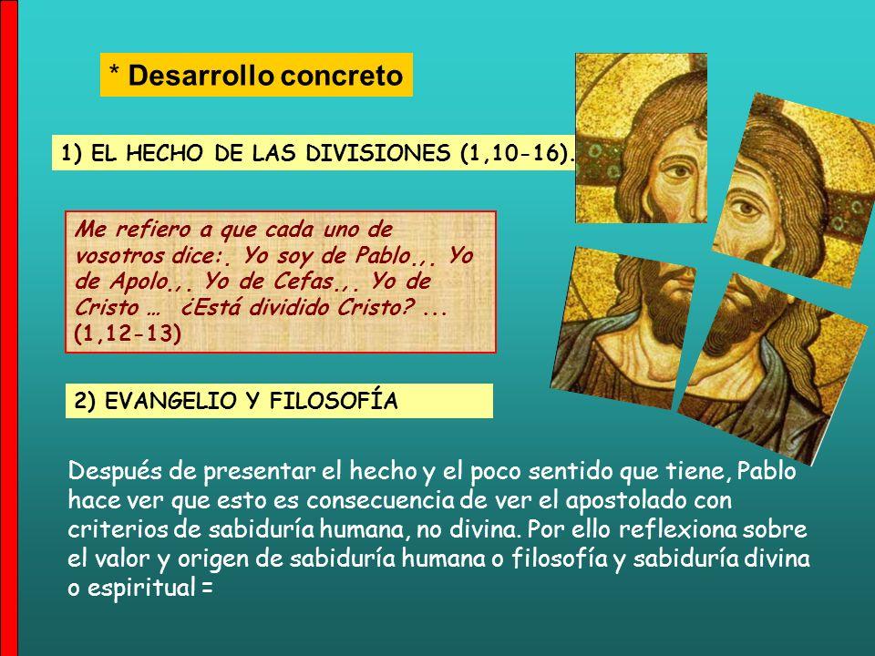 * Una visión de conjunto = 1) El hecho de las divisiones 2) Evangelio y Filosofía: todo se debe a que juzgan el ministerio con sabiduría humana 3) El