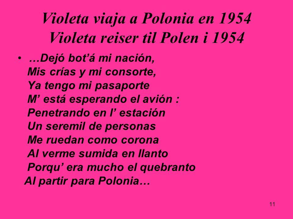11 Violeta viaja a Polonia en 1954 Violeta reiser til Polen i 1954 …Dejó botá mi nación, Mis crías y mi consorte, Ya tengo mi pasaporte M está esperan