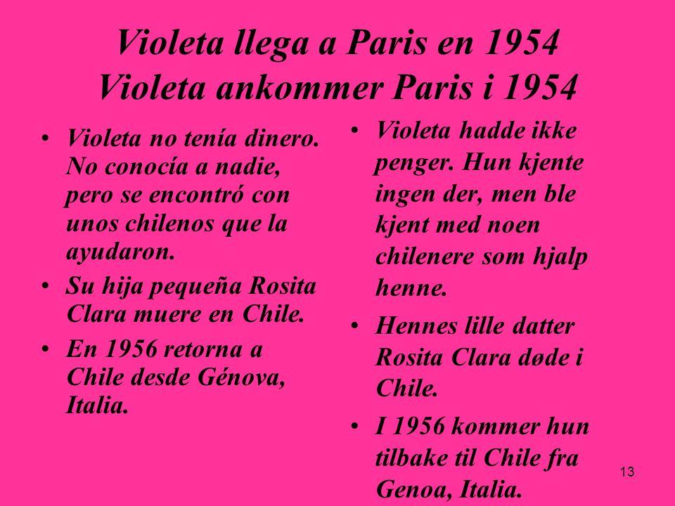 13 Violeta llega a Paris en 1954 Violeta ankommer Paris i 1954 Violeta no tenía dinero. No conocía a nadie, pero se encontró con unos chilenos que la