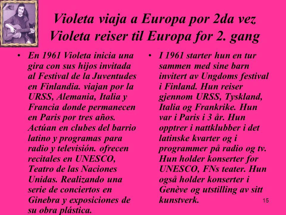 15 Violeta viaja a Europa por 2da vez Violeta reiser til Europa for 2. gang En 1961 Violeta inicia una gira con sus hijos invitada al Festival de la J