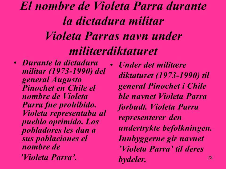 23 El nombre de Violeta Parra durante la dictadura militar Violeta Parras navn under militærdiktaturet Durante la dictadura militar (1973-1990) del ge