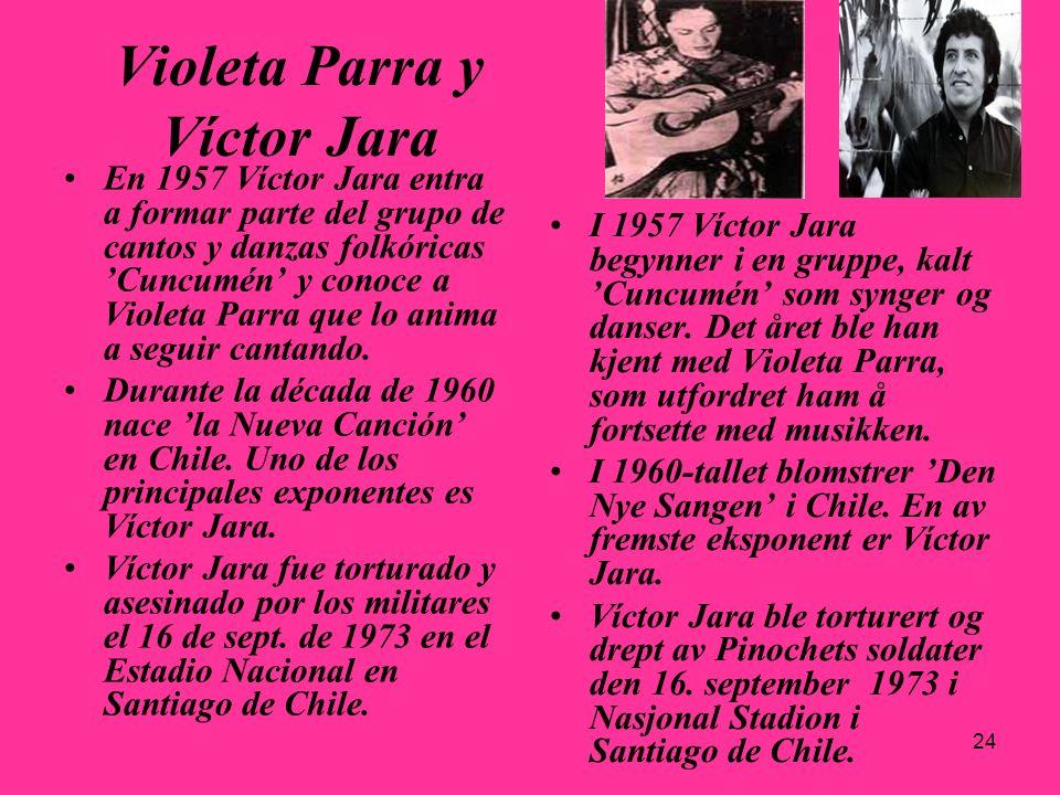 24 Violeta Parra y Víctor Jara En 1957 Víctor Jara entra a formar parte del grupo de cantos y danzas folkóricas Cuncumén y conoce a Violeta Parra que
