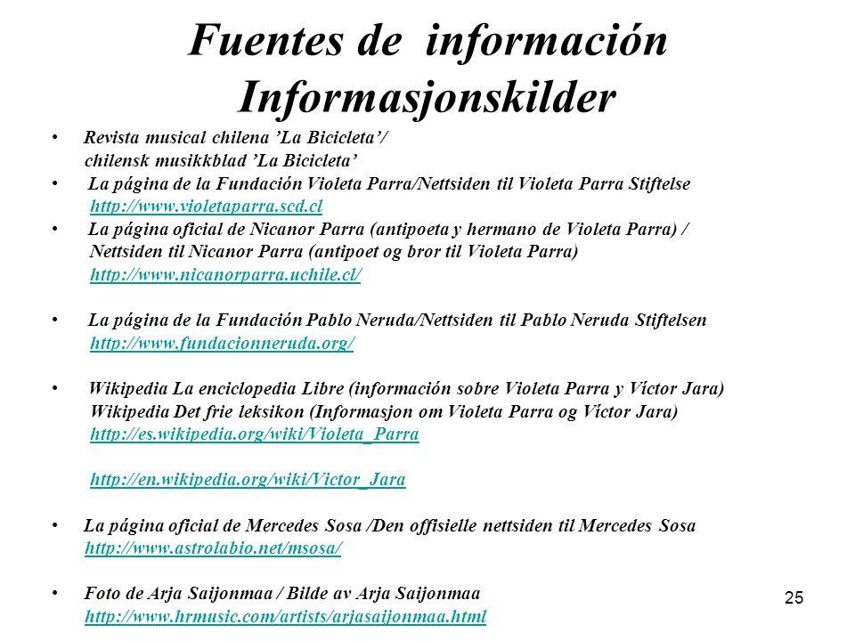 25 Fuentes de información Informasjonskilder Revista musical chilena La Bicicleta/ chilensk musikkblad La Bicicleta La página de la Fundación Violeta