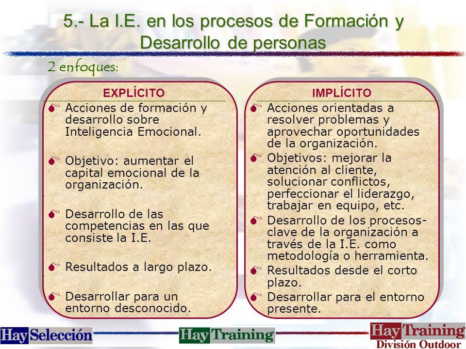 5.- La I.E. en los procesos de Formación y Desarrollo de personas 2 enfoques: EXPLÍCITO MAcciones de formación y desarrollo sobre Inteligencia Emocion