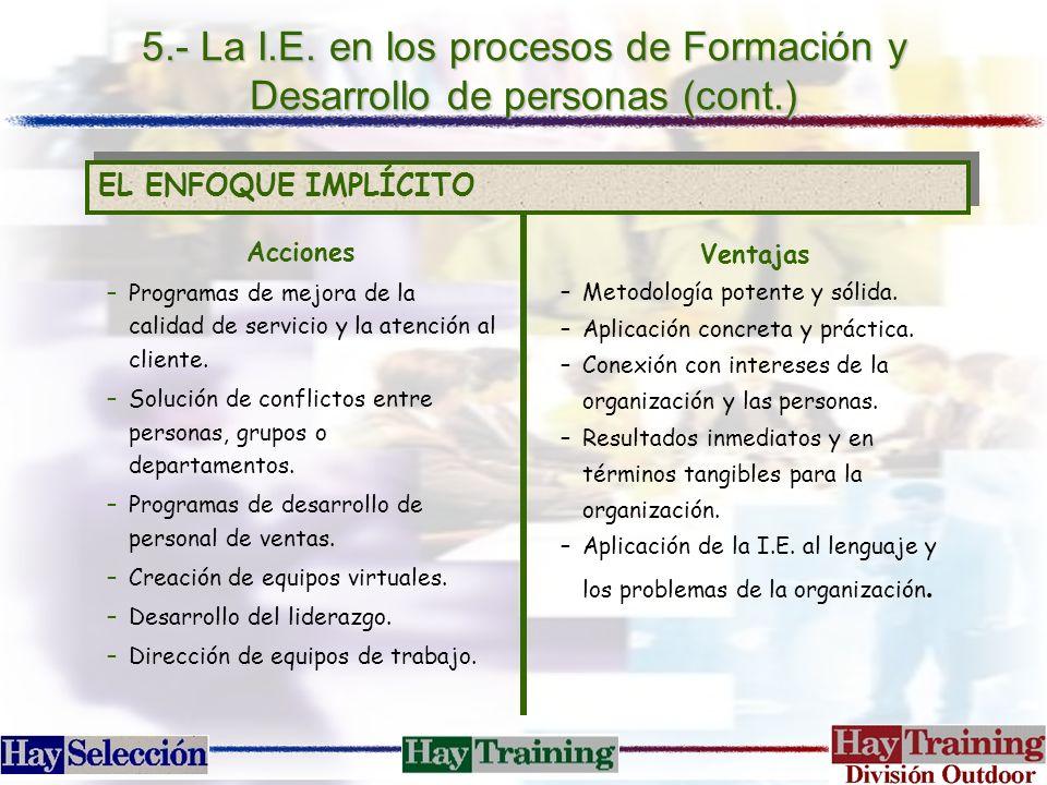 5.- La I.E. en los procesos de Formación y Desarrollo de personas (cont.) EL ENFOQUE IMPLÍCITO Acciones –Programas de mejora de la calidad de servicio