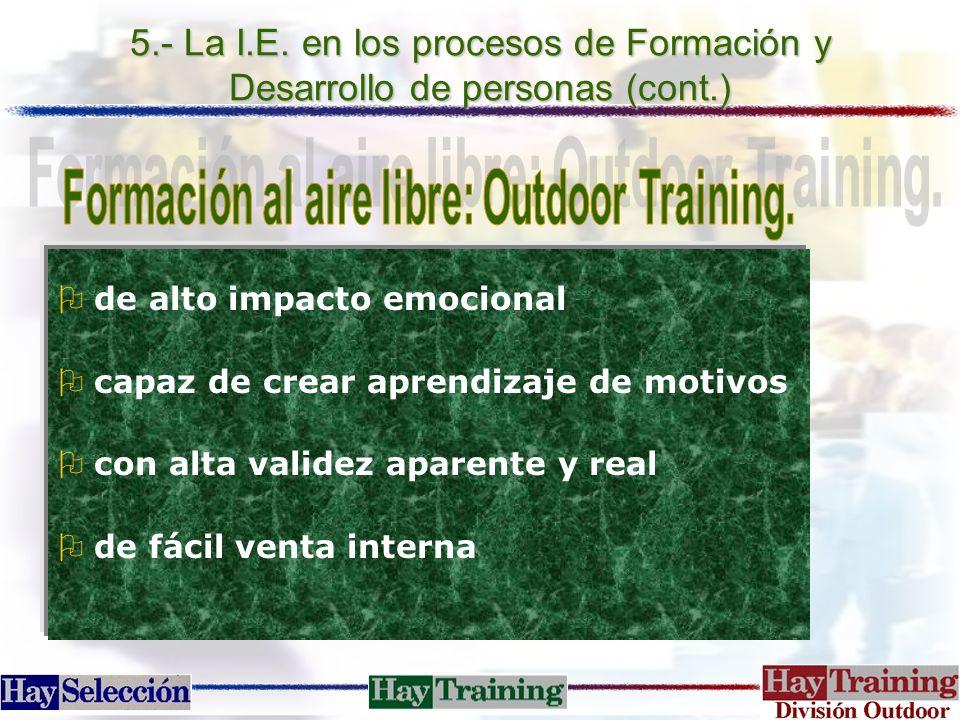 5.- La I.E. en los procesos de Formación y Desarrollo de personas (cont.) Ode alto impacto emocional Ocapaz de crear aprendizaje de motivos Ocon alta