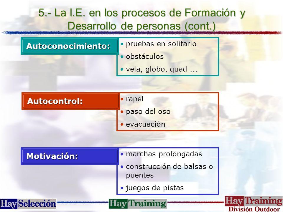 5.- La I.E. en los procesos de Formación y Desarrollo de personas (cont.) pruebas en solitario obstáculos vela, globo, quad...Autoconocimiento: rapel