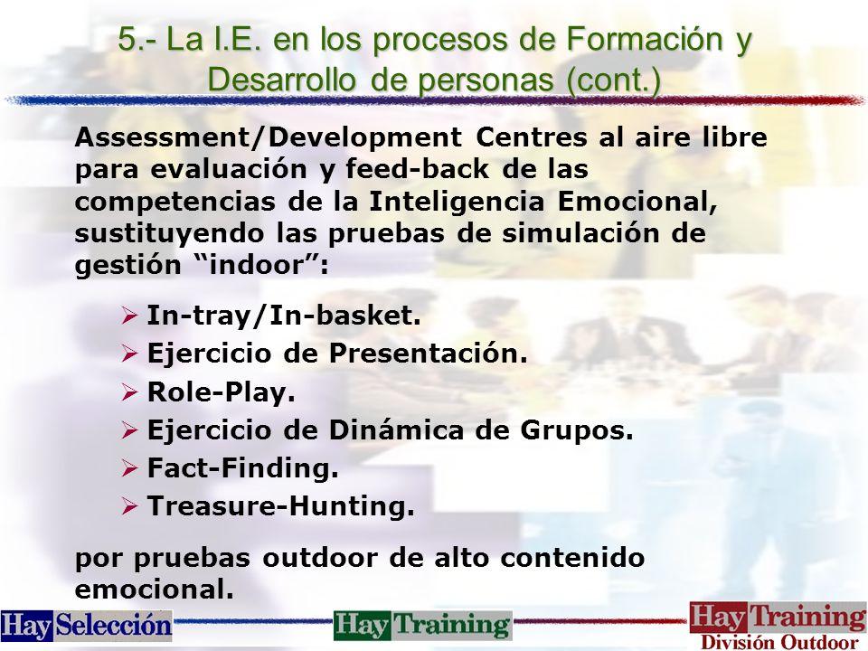 5.- La I.E. en los procesos de Formación y Desarrollo de personas (cont.) Assessment/Development Centres al aire libre para evaluación y feed-back de