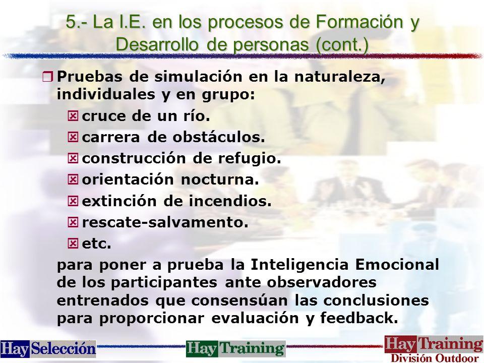 5.- La I.E. en los procesos de Formación y Desarrollo de personas (cont.) rPruebas de simulación en la naturaleza, individuales y en grupo: cruce de u