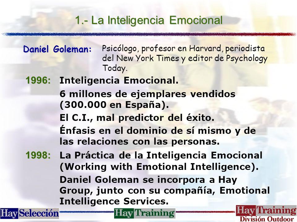 1.- La Inteligencia Emocional 1996: 1996: Inteligencia Emocional. 6 millones de ejemplares vendidos (300.000 en España). El C.I., mal predictor del éx