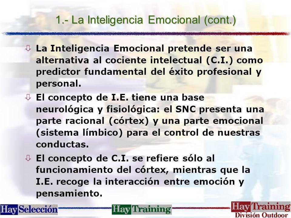 1.- La Inteligencia Emocional (cont.) òLa Inteligencia Emocional pretende ser una alternativa al cociente intelectual (C.I.) como predictor fundamenta