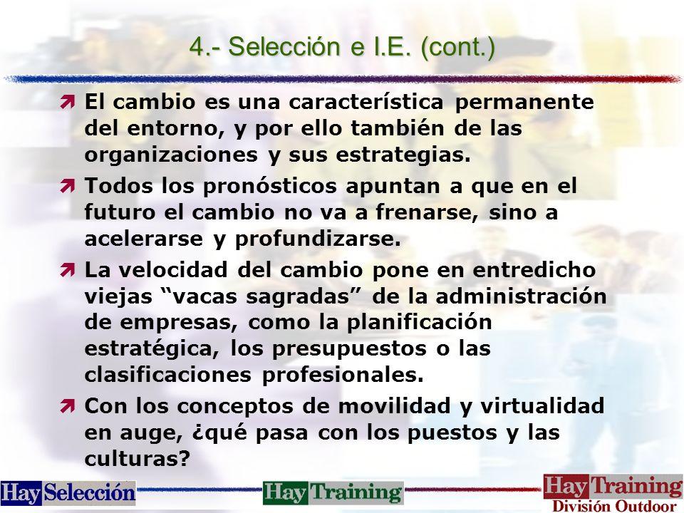 4.- Selección e I.E. (cont.) ìEl cambio es una característica permanente del entorno, y por ello también de las organizaciones y sus estrategias. ìTod