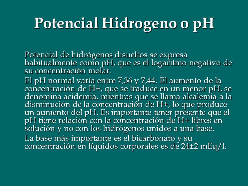 Potencial Hidrogeno o pH Potencial de hidrógenos disueltos se expresa habitualmente como pH, que es el logaritmo negativo de su concentración molar. E