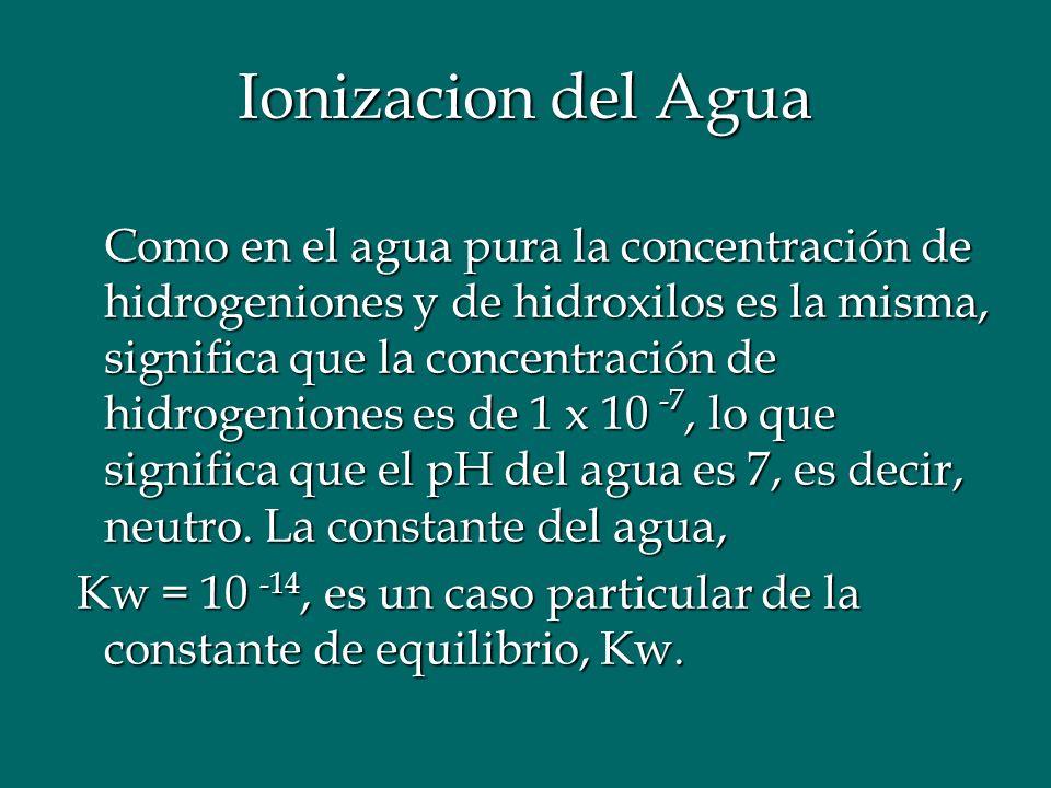 Ionizacion del Agua Como en el agua pura la concentración de hidrogeniones y de hidroxilos es la misma, significa que la concentración de hidrogeniones es de 1 x 10 -7, lo que significa que el pH del agua es 7, es decir, neutro.