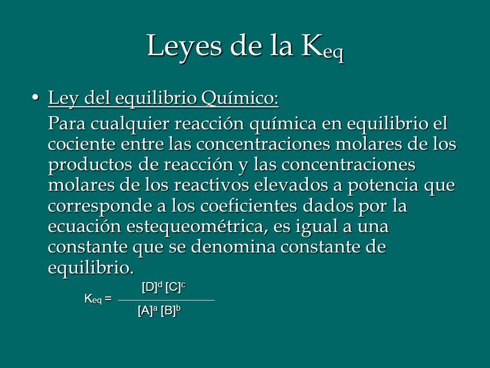 Leyes de la K eq Ley del equilibrio Químico:Ley del equilibrio Químico: Para cualquier reacción química en equilibrio el cociente entre las concentrac