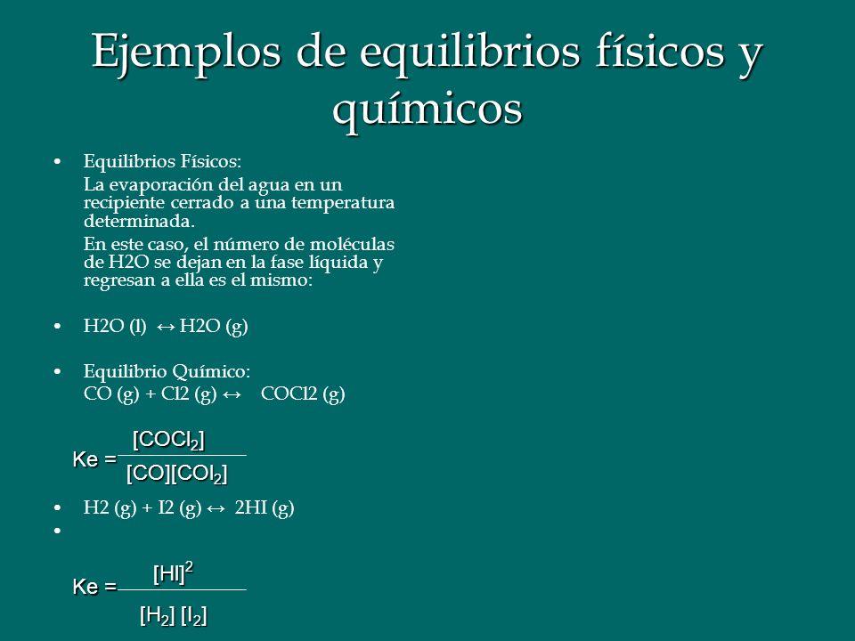 Ejemplos de equilibrios físicos y químicos Equilibrios Físicos: La evaporación del agua en un recipiente cerrado a una temperatura determinada.