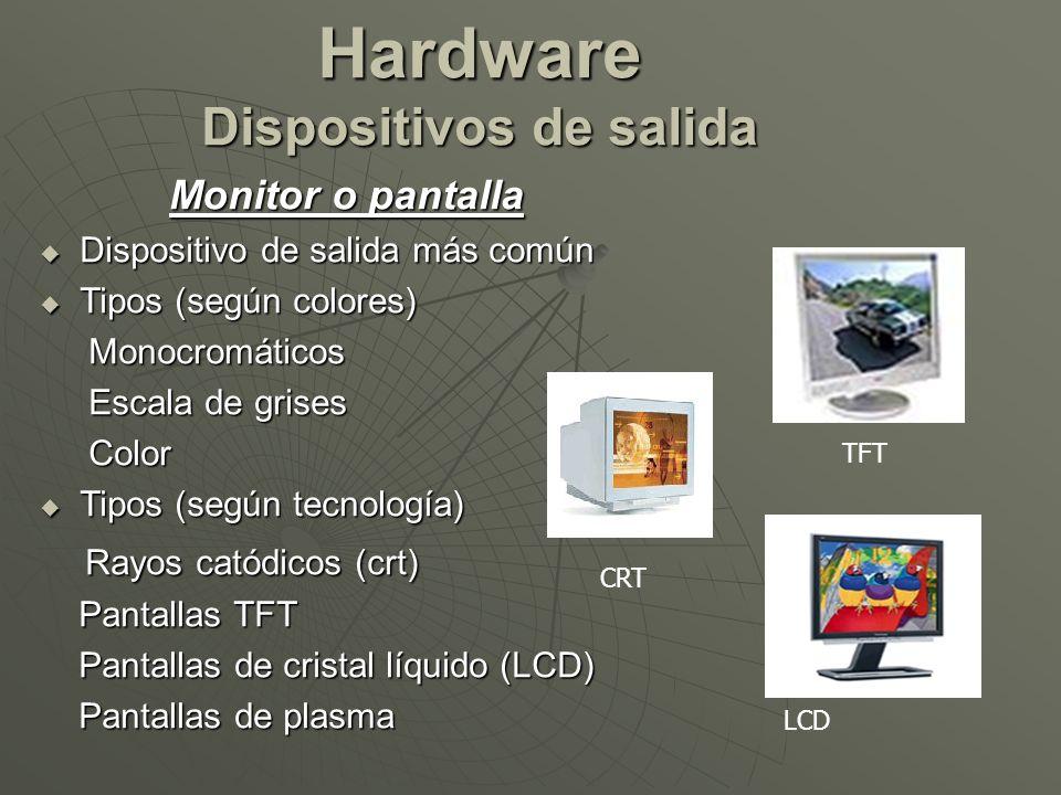 Hardware Dispositivos de salida Monitor o pantalla Dispositivo de salida más común Dispositivo de salida más común Tipos (según colores) Tipos (según