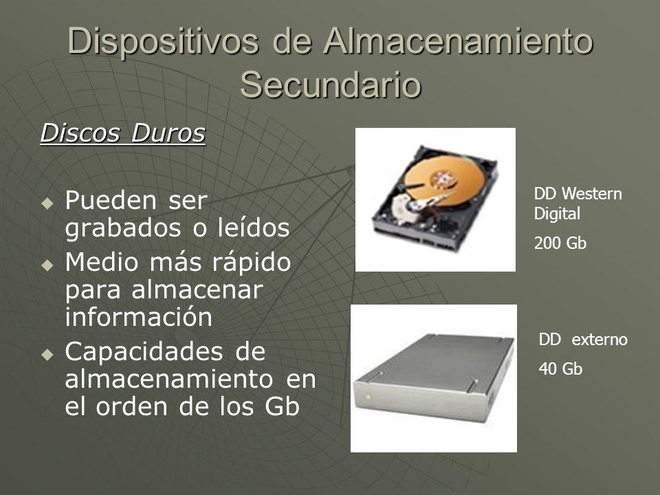 Dispositivos de Almacenamiento Secundario Discos Duros Pueden ser grabados o leídos Medio más rápido para almacenar información Capacidades de almacen