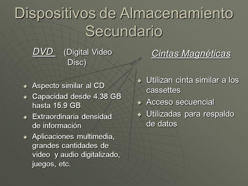 Dispositivos de Almacenamiento Secundario Cintas Magnéticas Utilizan cinta similar a los cassettes Utilizan cinta similar a los cassettes Acceso secue