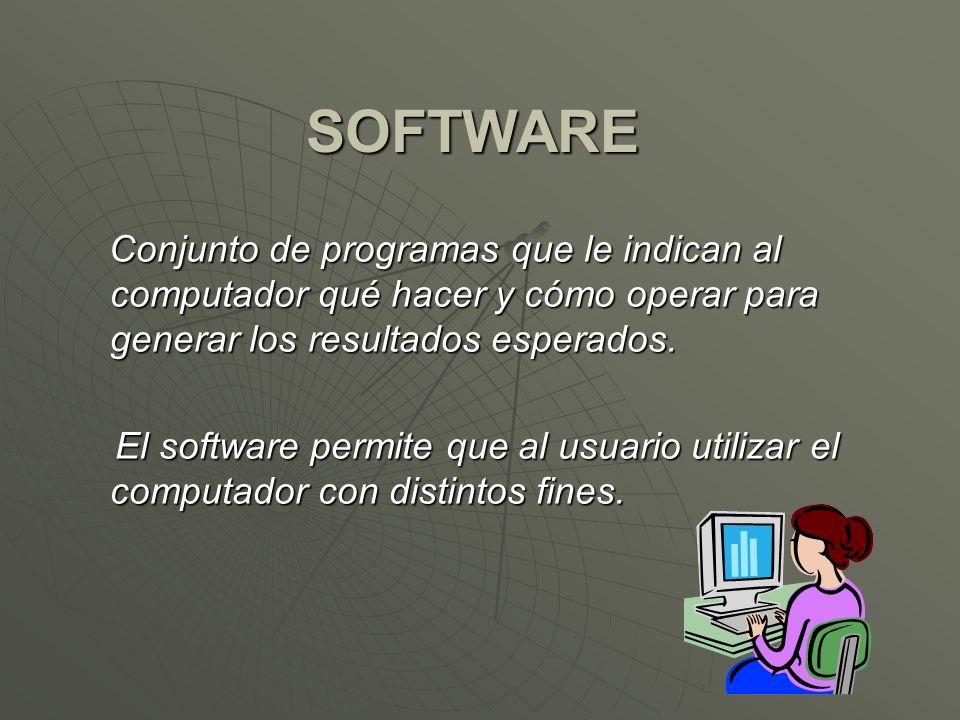 SOFTWARE Conjunto de programas que le indican al computador qué hacer y cómo operar para generar los resultados esperados. Conjunto de programas que l